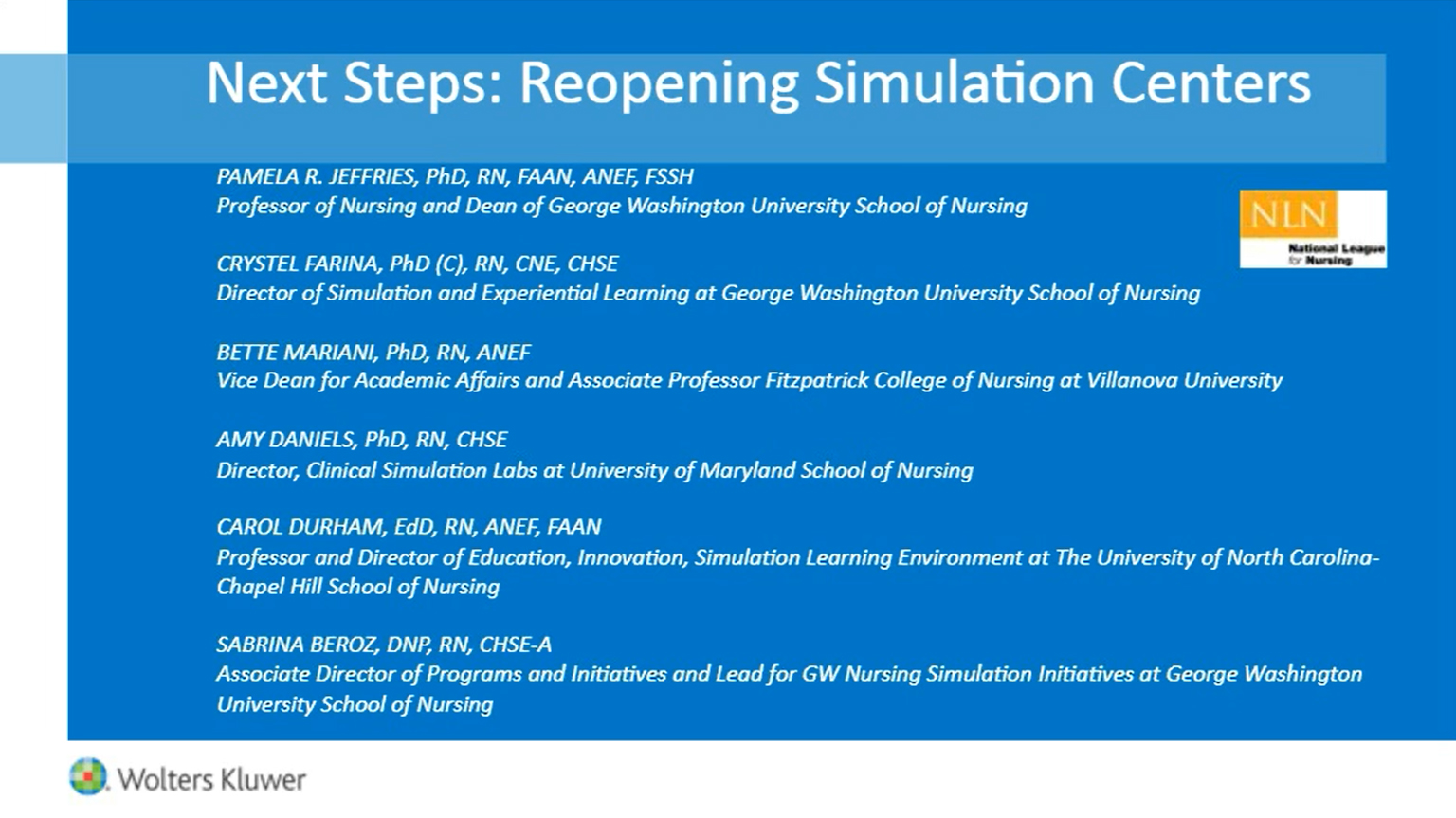 Screenshot of Next steps: Reopening simulation centers video