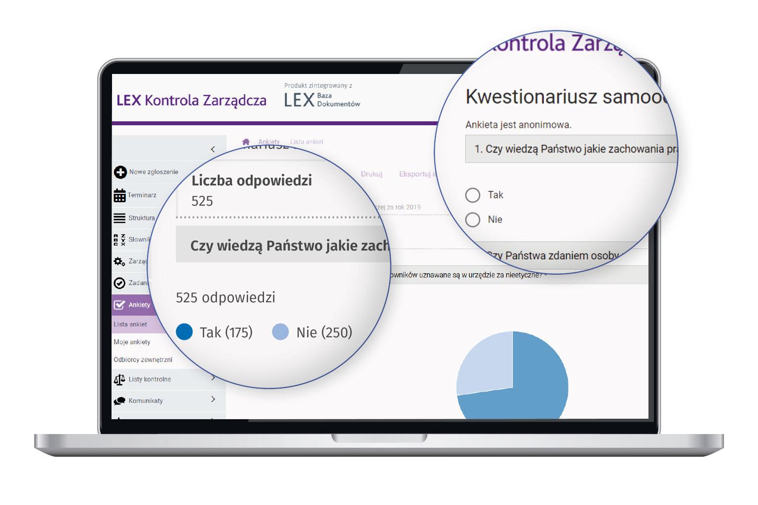Widok programu LEX Kontrola Zarządcza przedstawiający wyniki samooceny kontroli zarządczej