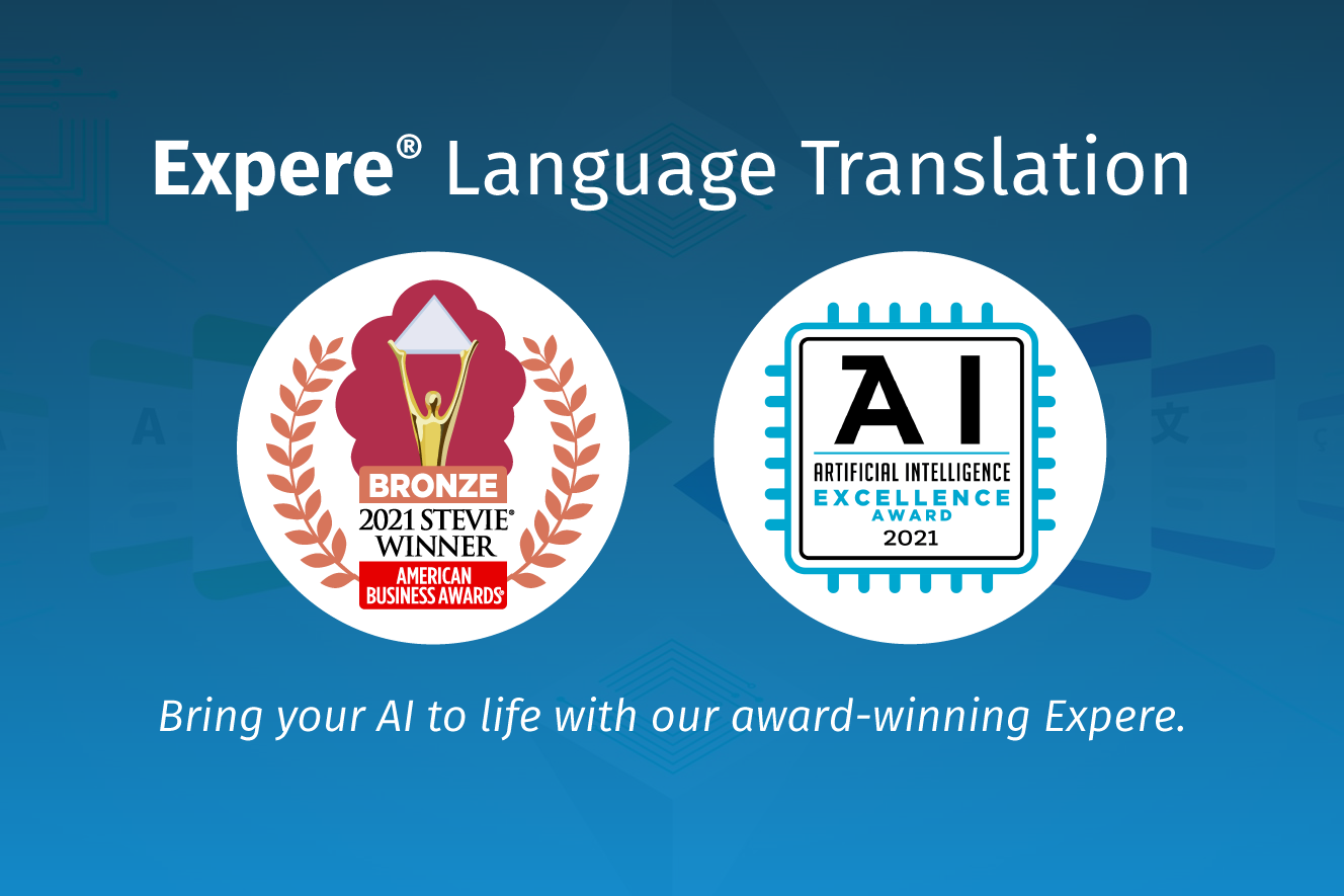 Expere Language Translation Best FinTech Solution Bronze Award Badge