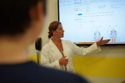 Teacher showing an example