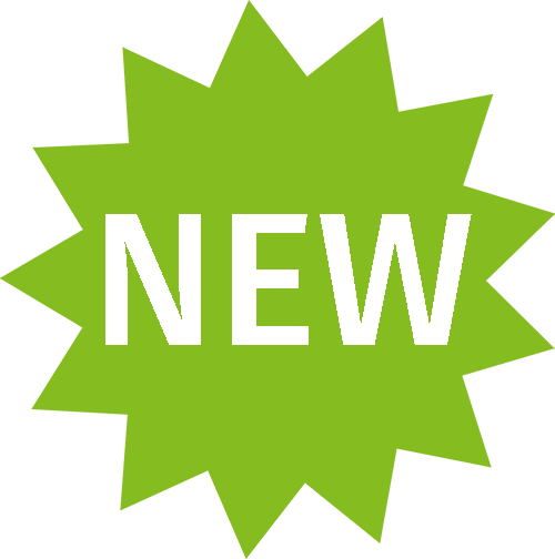 Green starburst with the word New in white