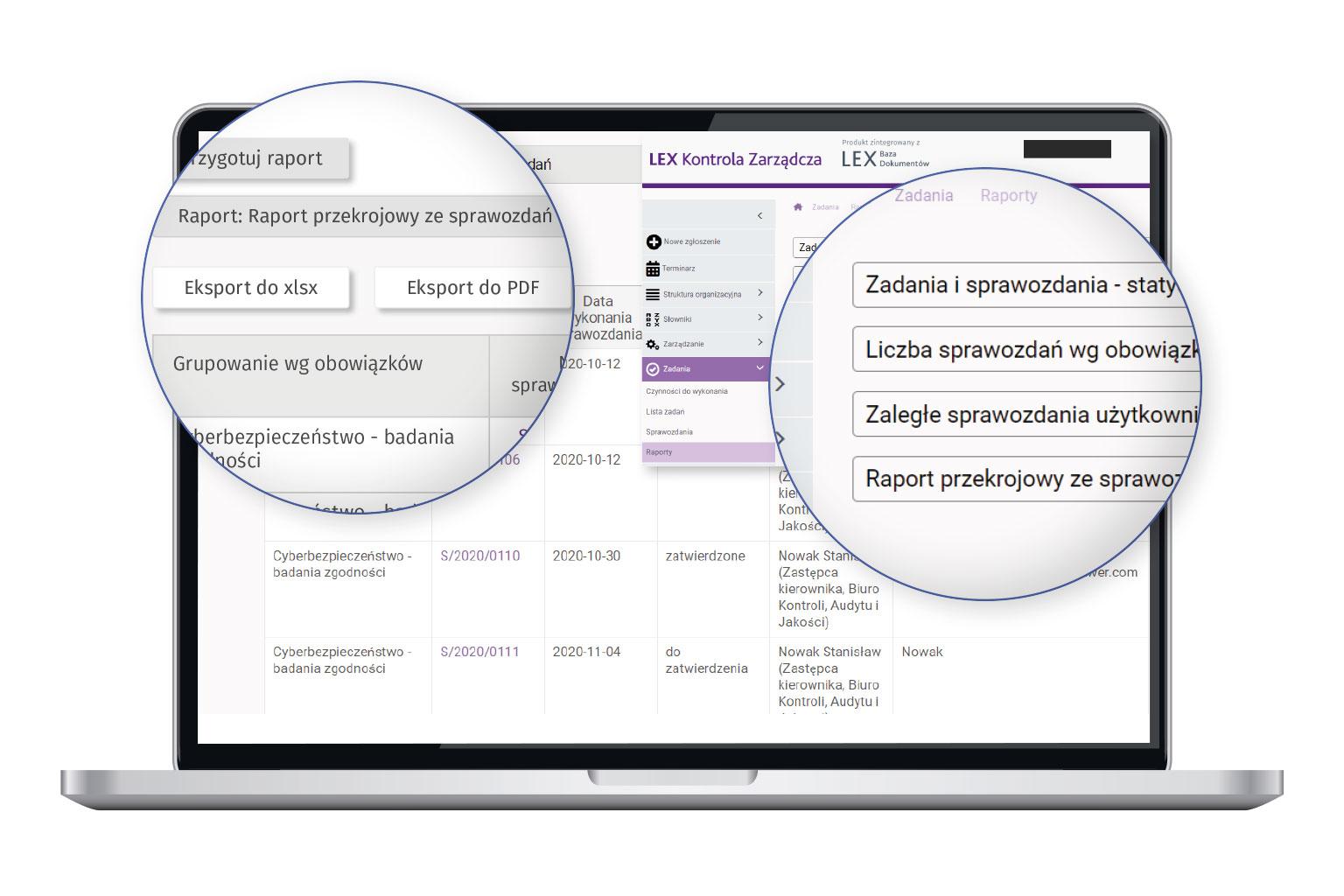 Widok programu LEX Kontrola Zarządcza przedstawiający raporty