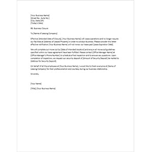 Sample Business Closure Letter to Landlord