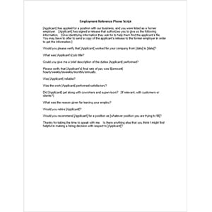 Employment Reference Phone Script