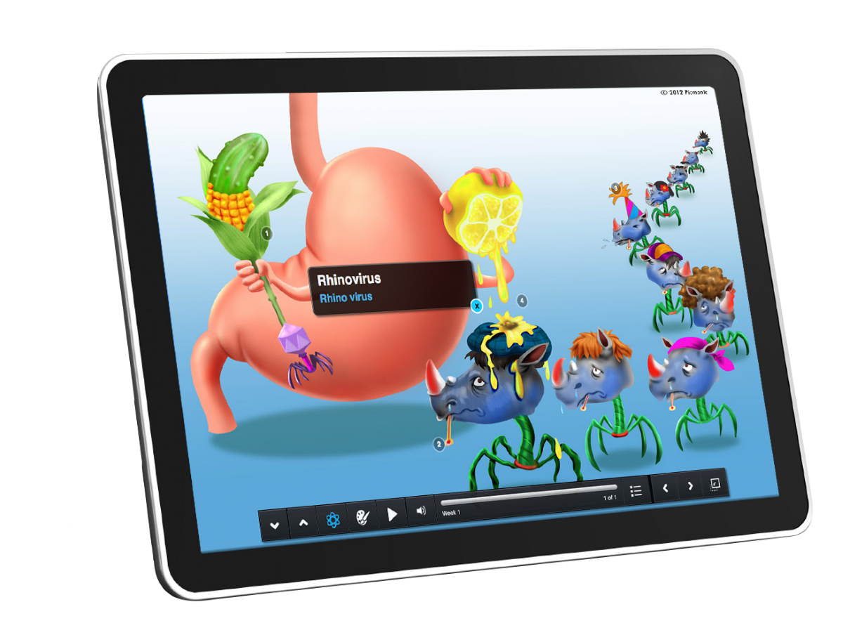 Graphic rendering of a Picmonic lesson on a tablet device.