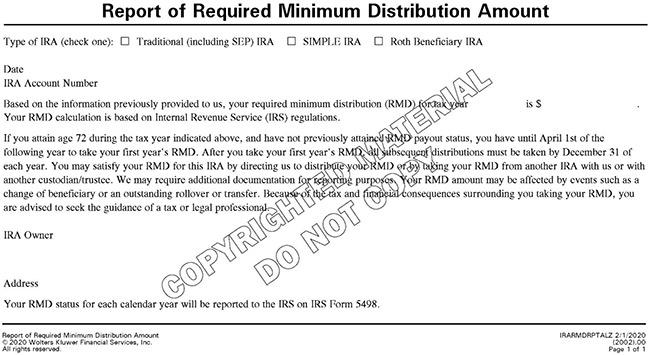 Report of Required Minimum Distribution Amount