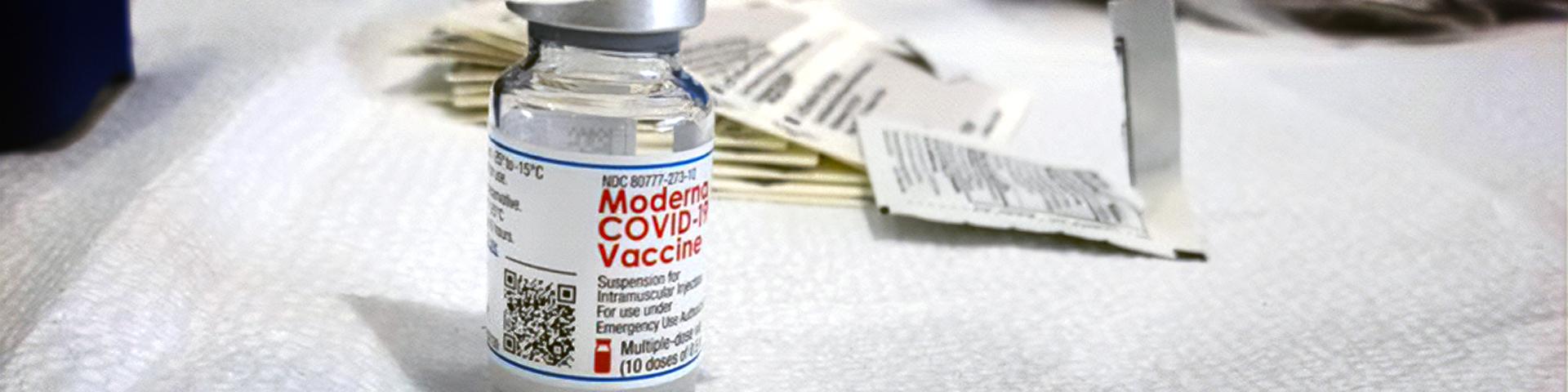 Vial of Moderna COVID-19 vaccine
