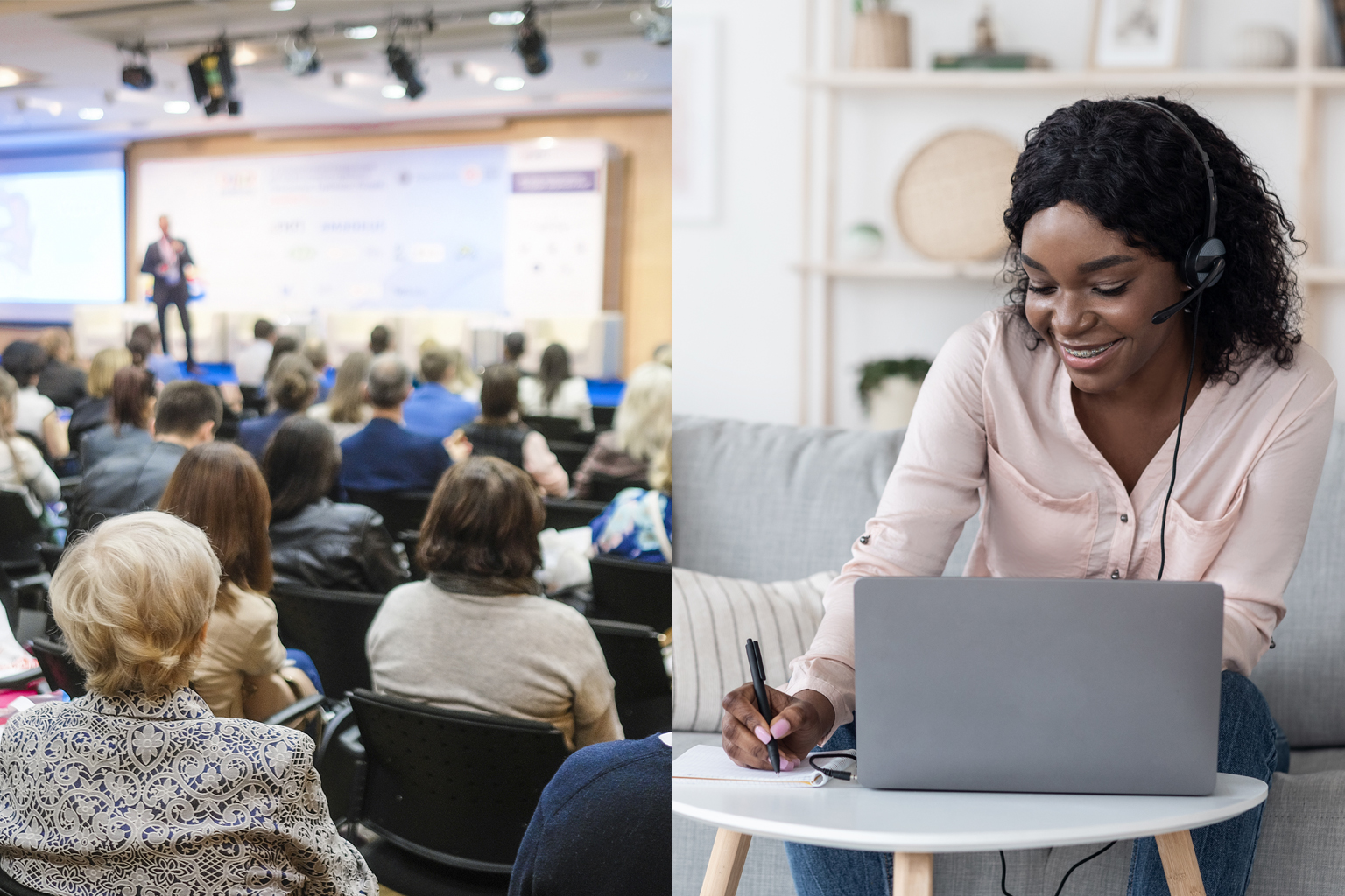 Two images: in-person conference audience and speaker (left) and woman attending at-home, taking notes (right)