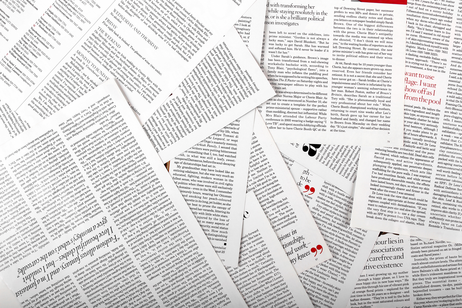 Various article papers strewn about a table