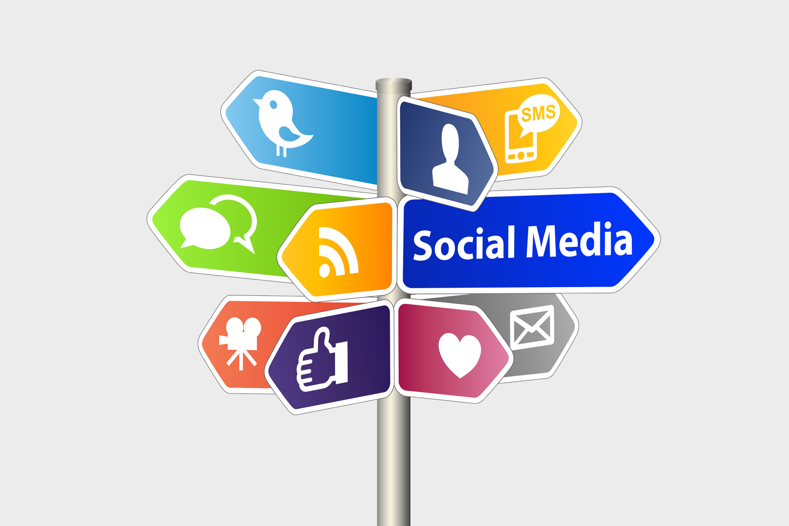 Colorful wayfinding sign with social media written on one and social media icons on the others