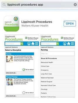 Lippincott Procedures App Installation Instructions screenshot: app store search