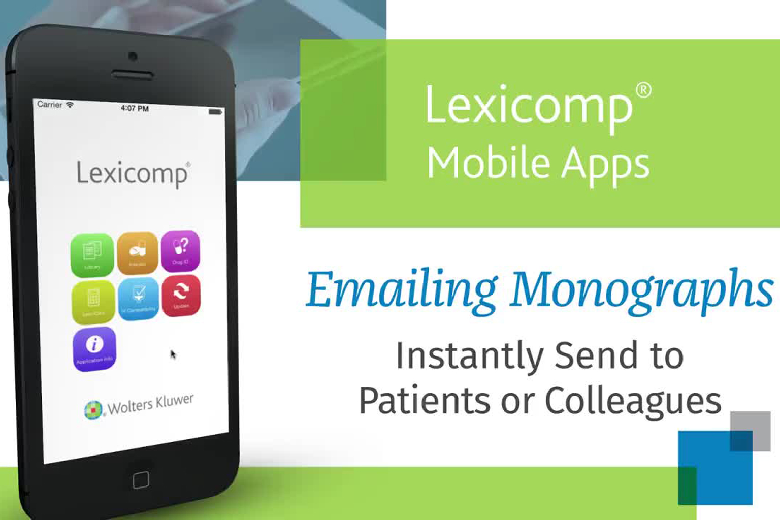 video screen - Lexicomp Mobile App Emailing a Monograph