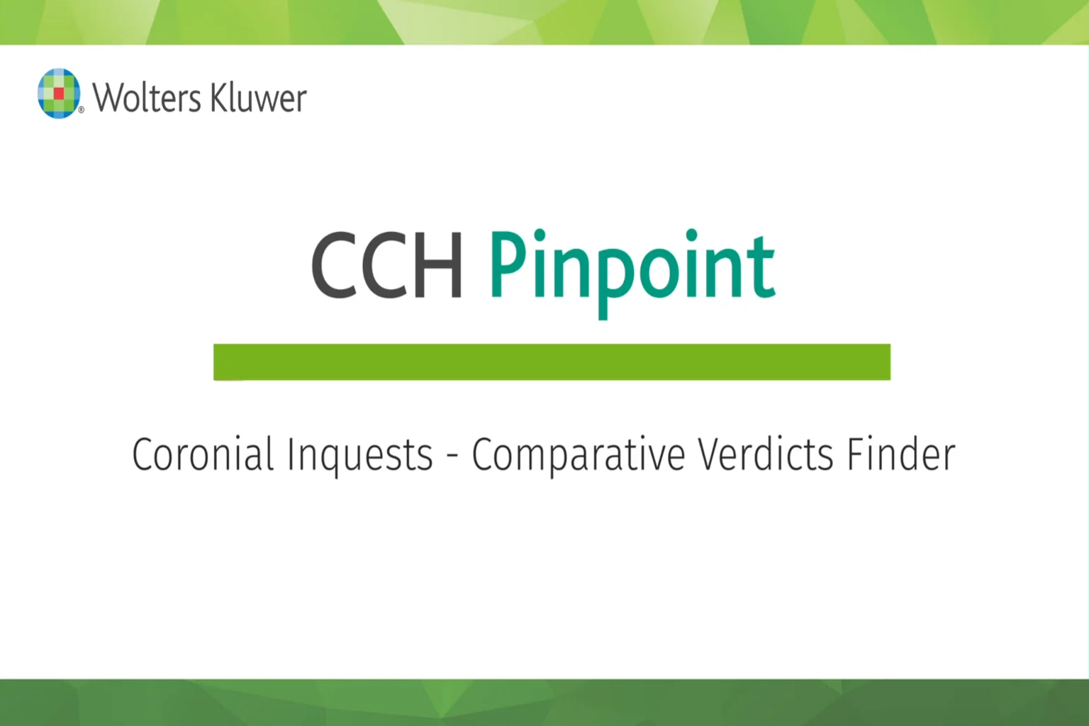 CCH Pinpoint® Motor Accidents Law Comparative Verdicts Finder