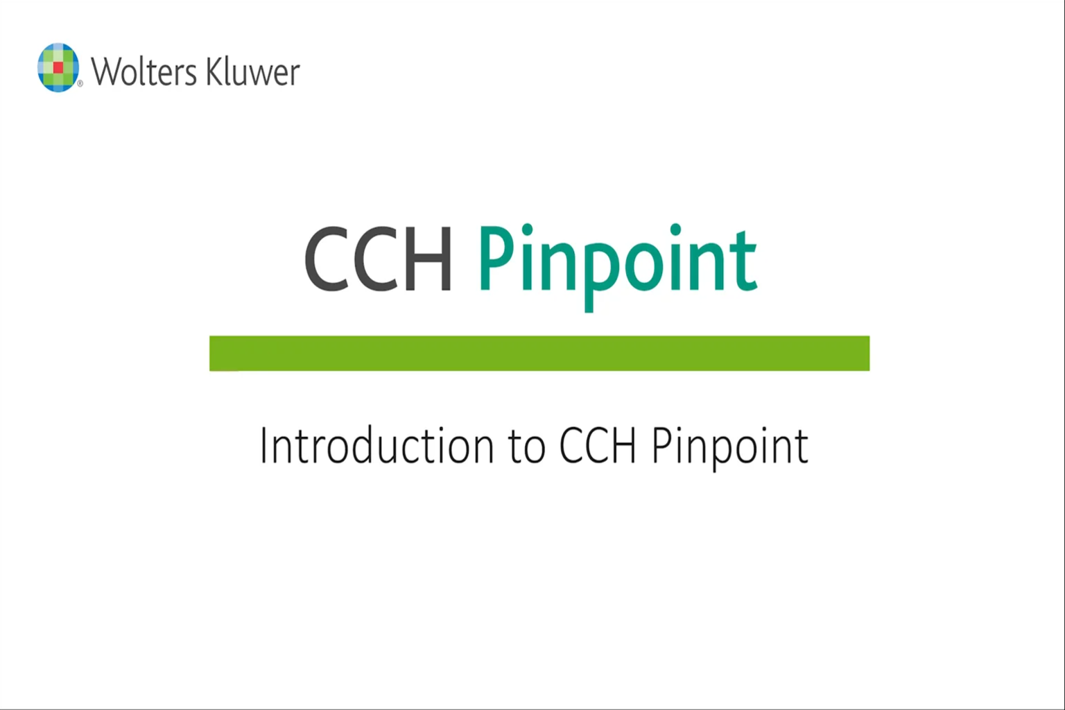 Introduction to CCH Pinpoint®