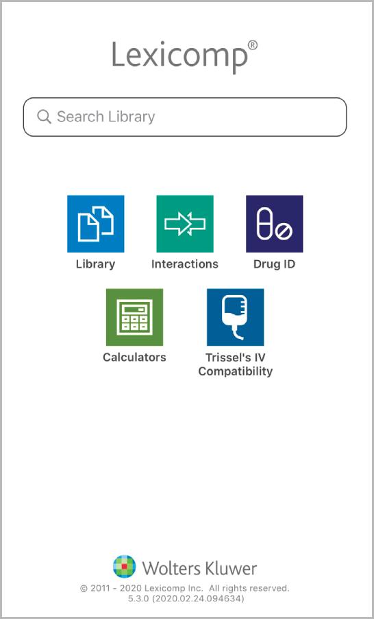 Lexicomp Mobile App Home Screen