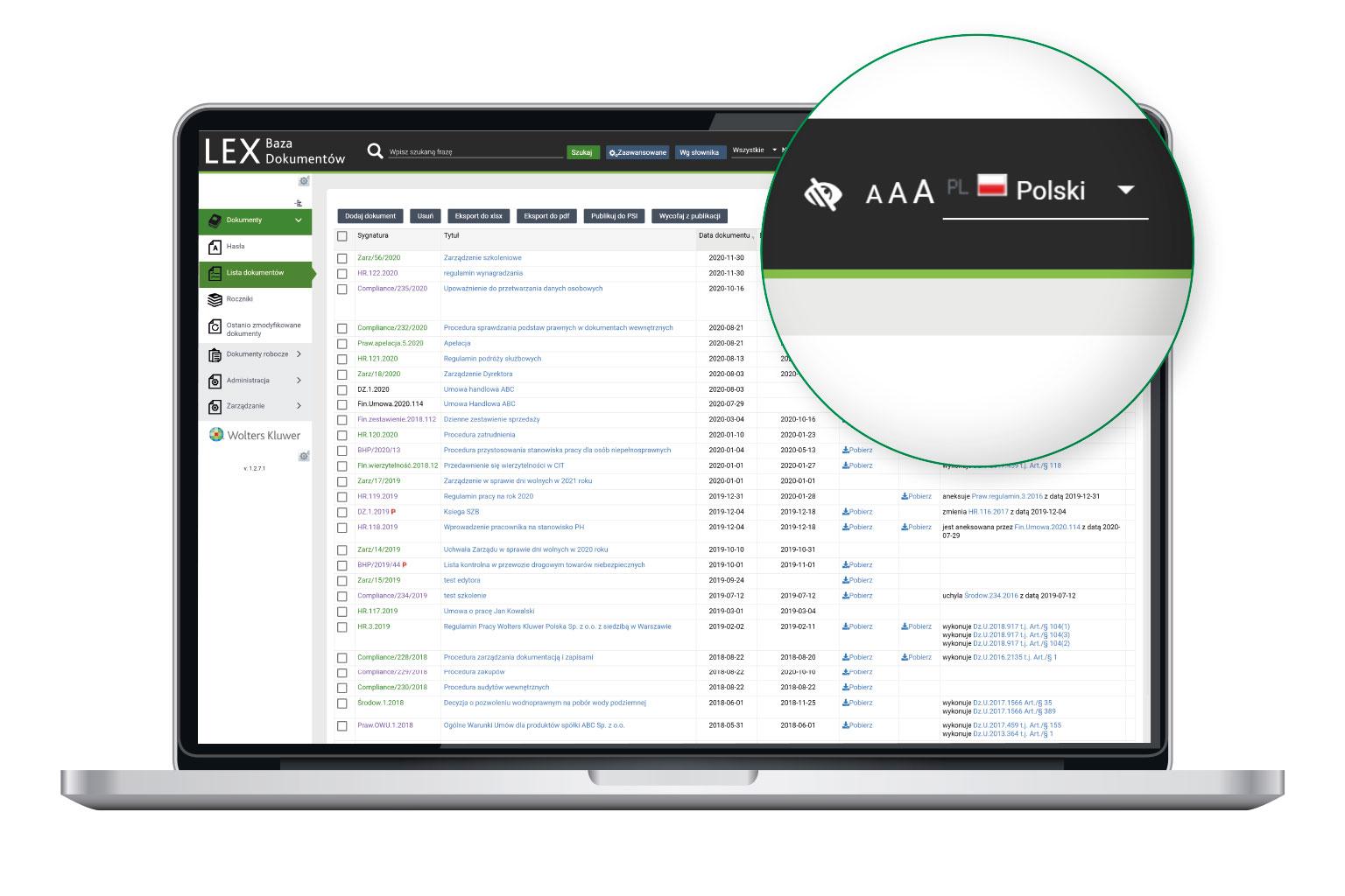 LEX Baza Dokumentów jest zgodny z WCAG 2.1