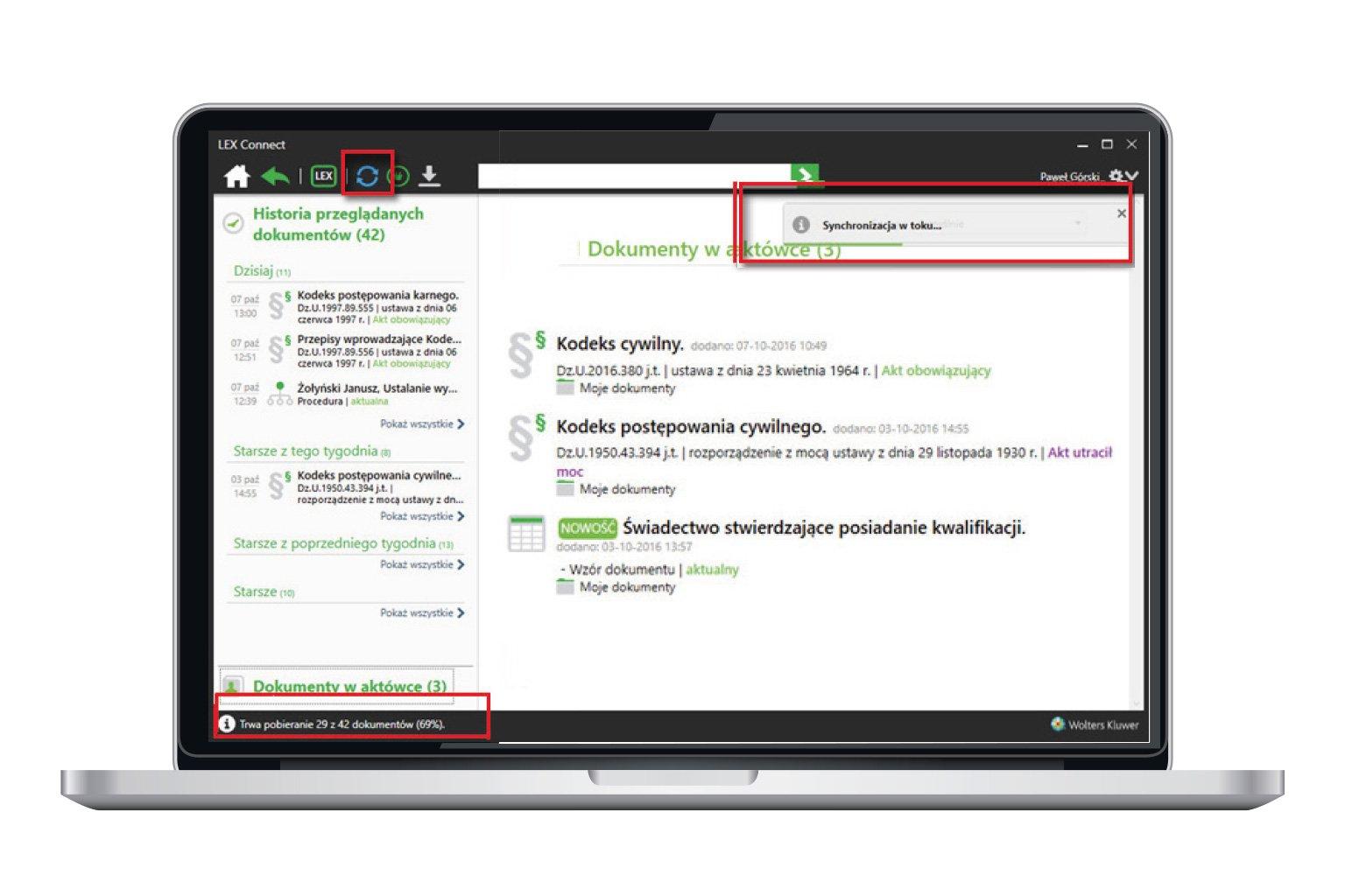 Okno narzędzia LEX Connect przedstawiające funkcję ciągłość pracy