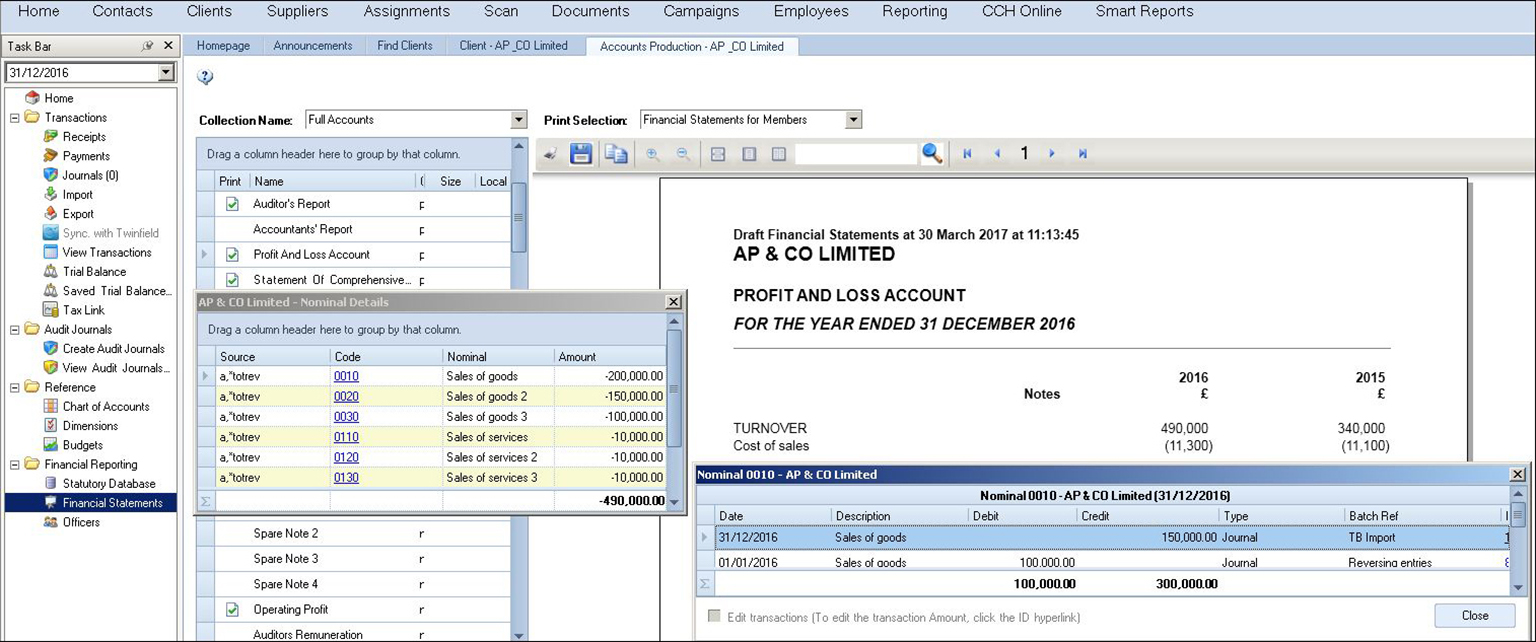 Review and amend accounts on screen with CCH Accounts production