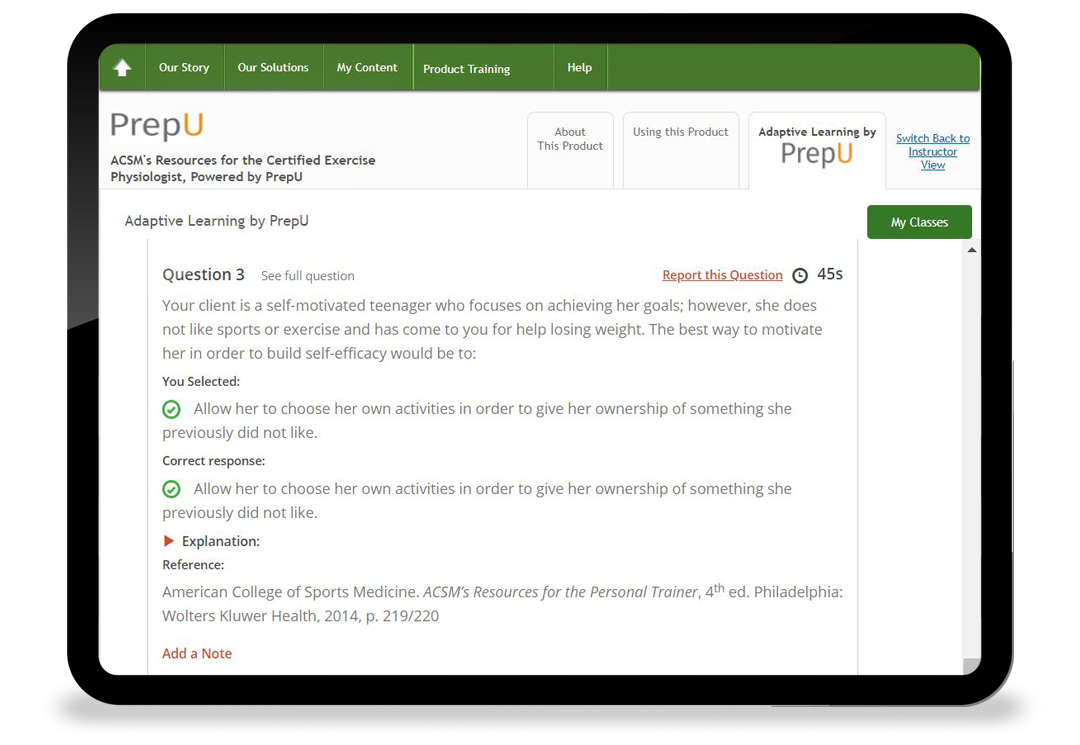 Thumbnail of PrepU on a tablet showing a sample quiz question