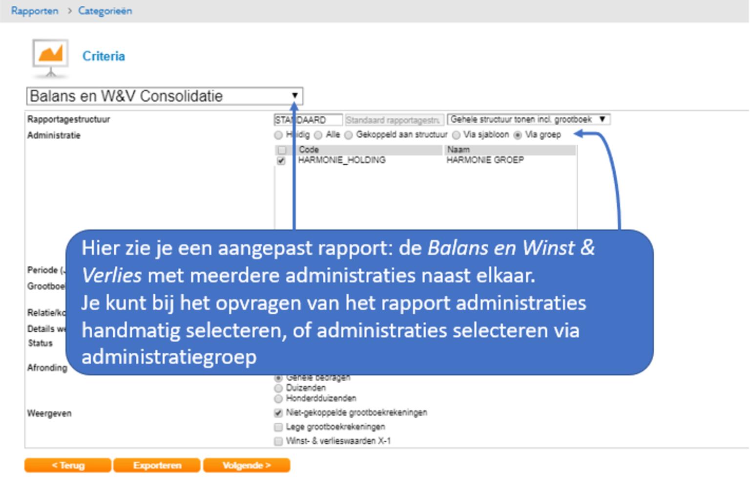 Screenshot van Twinfield dashboard over consolidatie