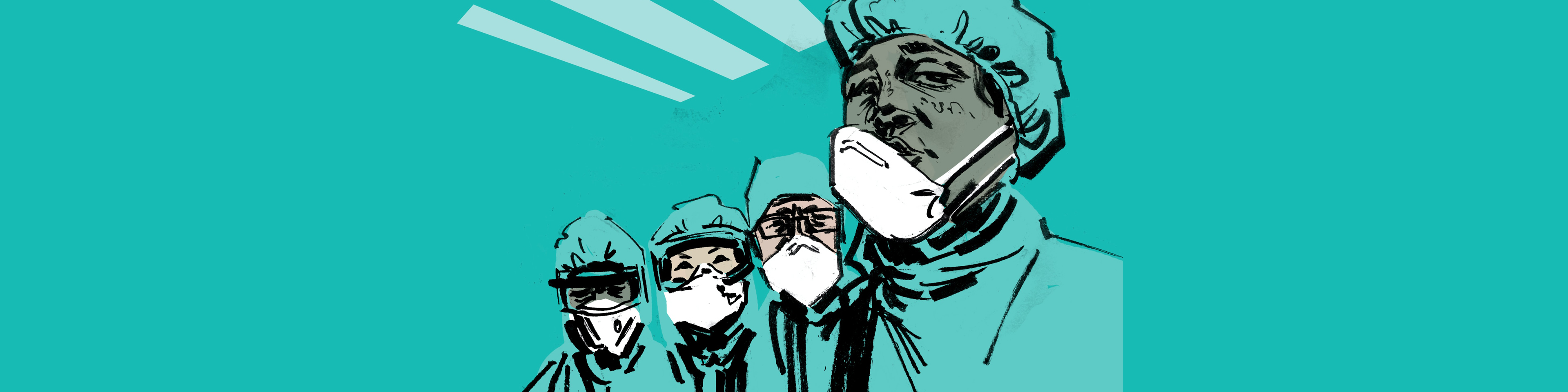 Illustration of healthcare workers in PPE