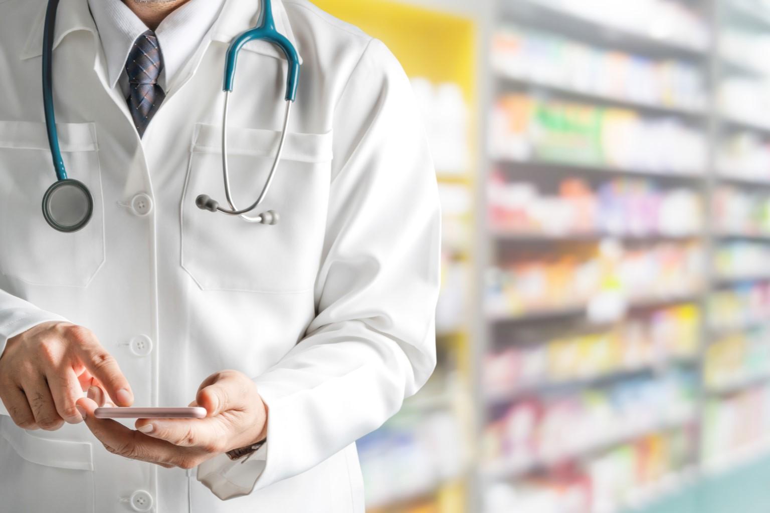 Pharmacist on a phone