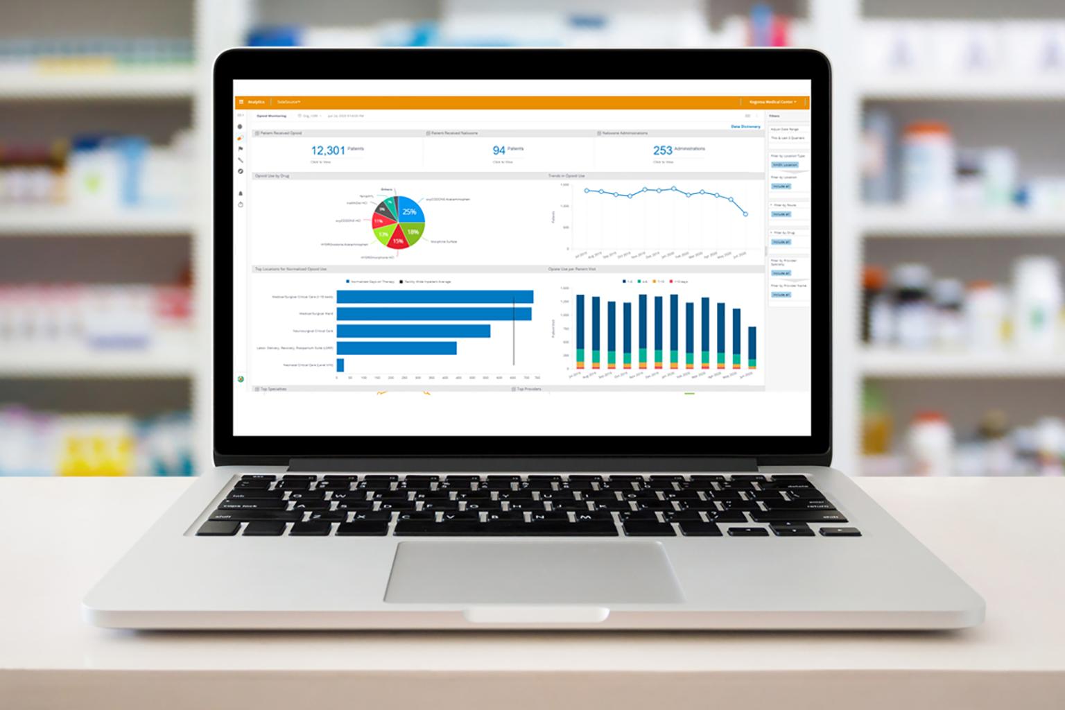 Sentri7-opioid-stewardship-analytics-on-laptop