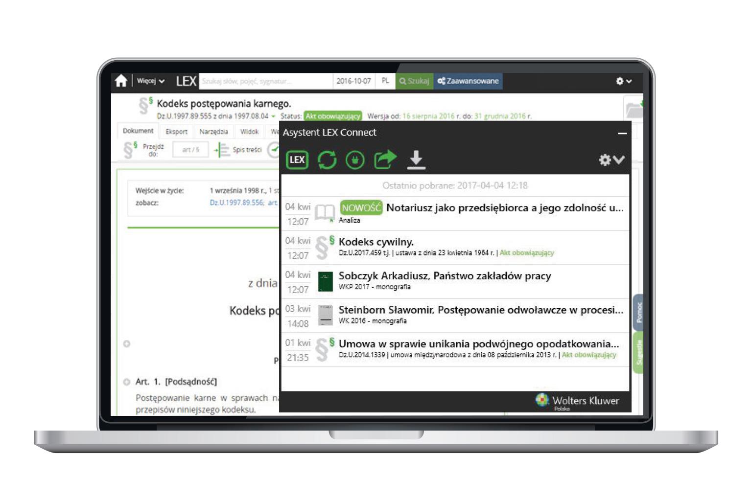 Okno narzędzia LEX Connect przedstawiające funkcję Asystenta