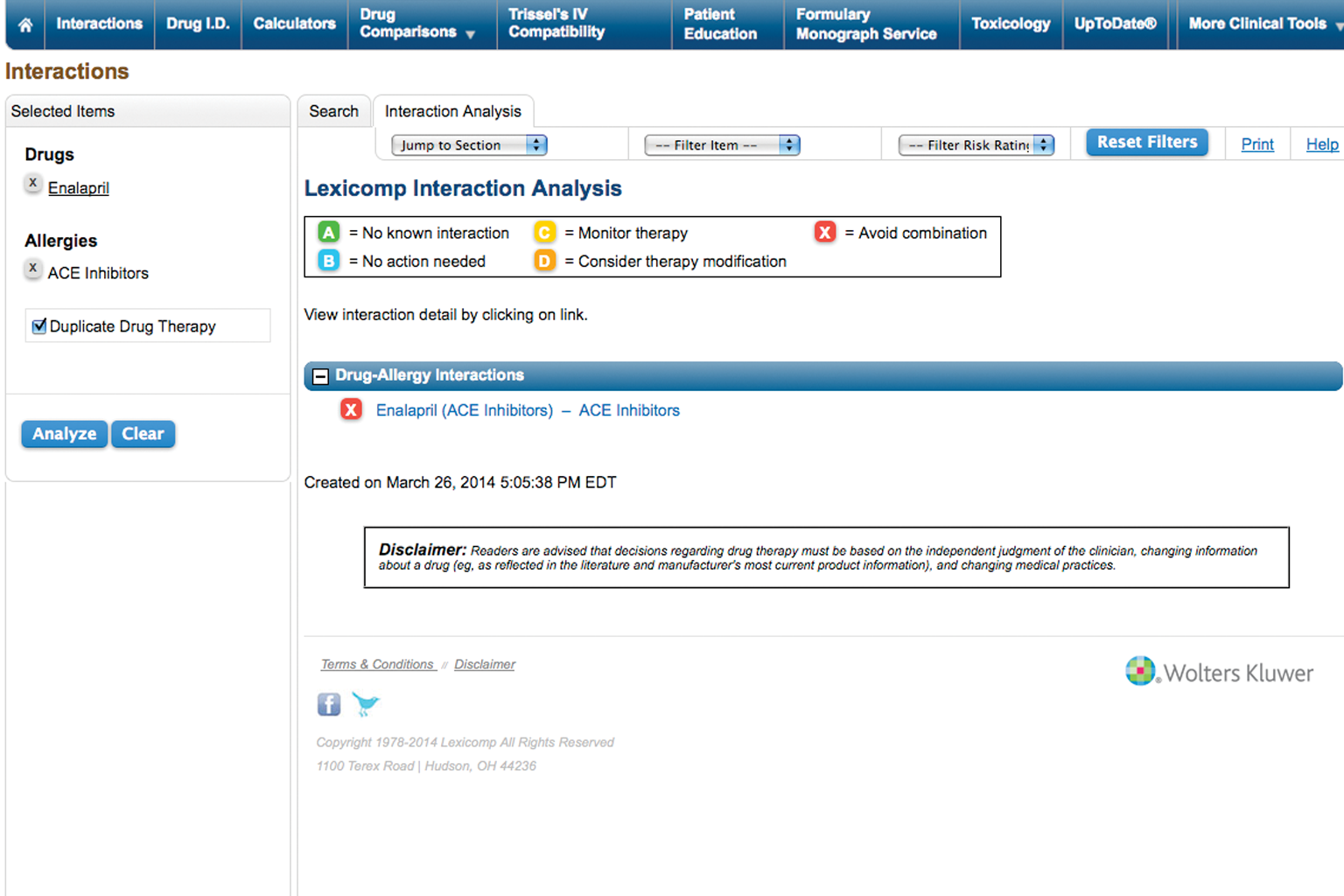 screenshot of Lexicomp interactions