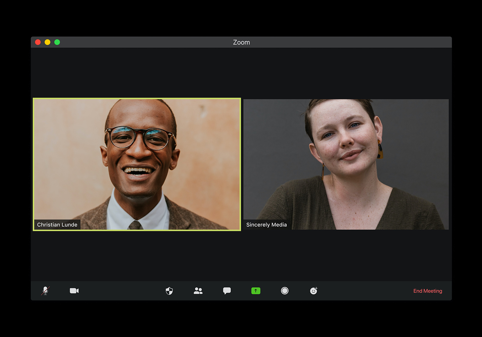 Screenshot of a two person zoom call