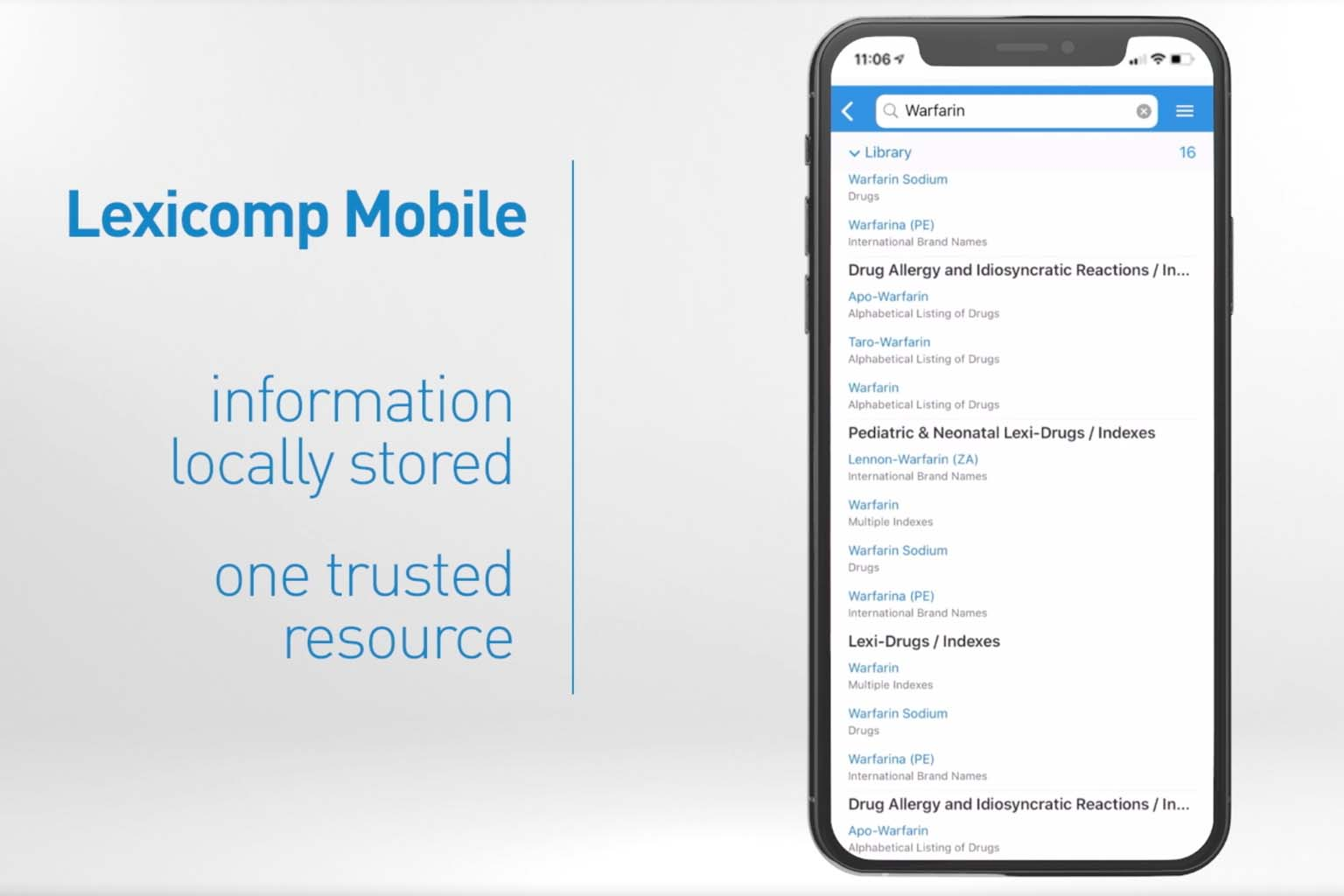 video screen - Lexicomp Mobile find answers to drug questions