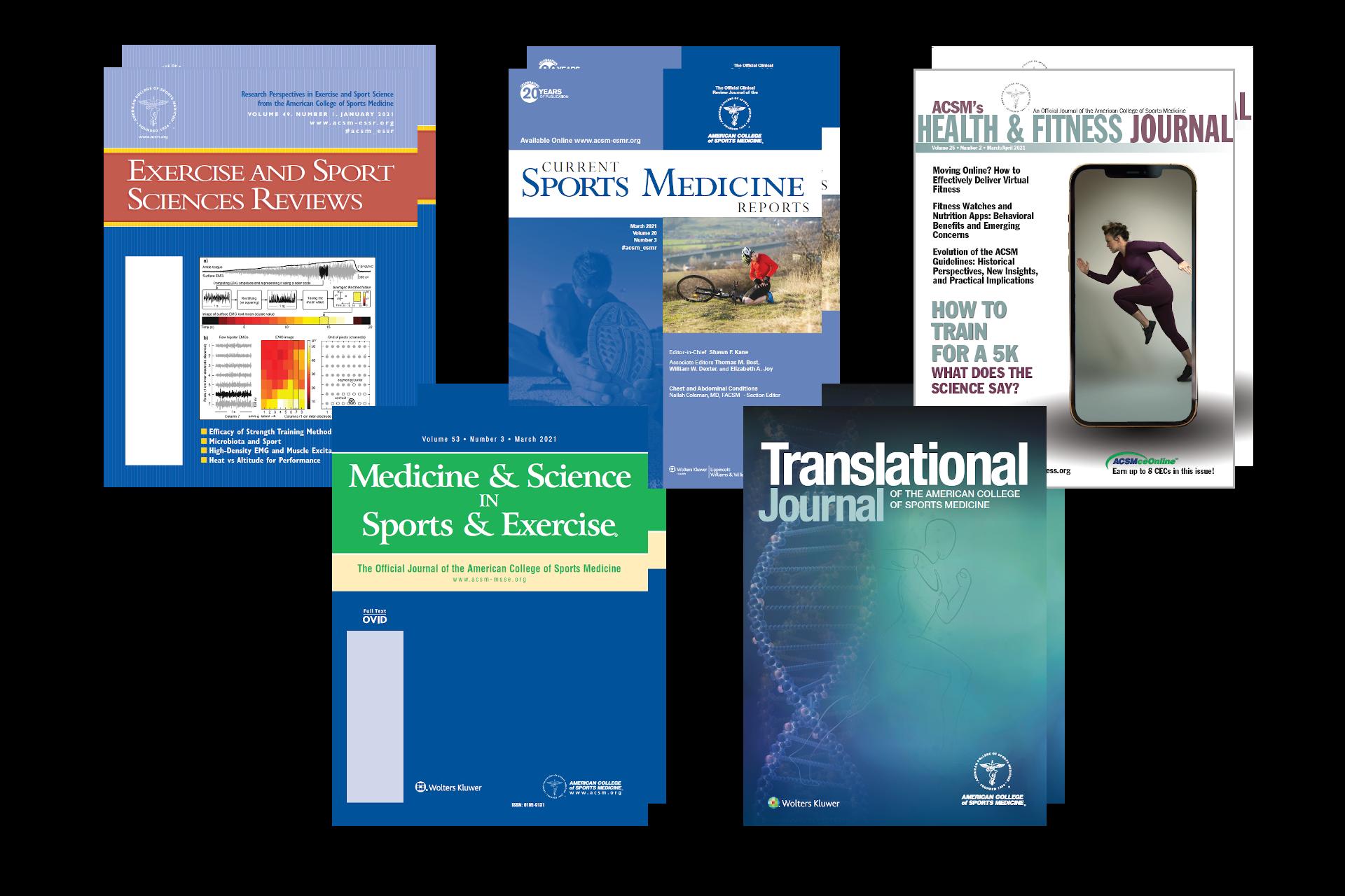 Screenshot of five ACSM journal book covers