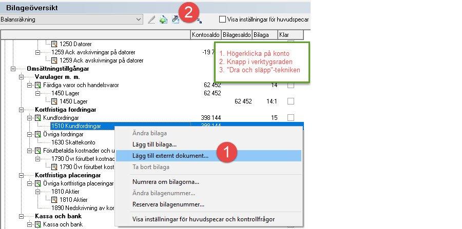Skärmdump Bilageöversikt