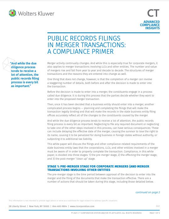 Public records filings in merger transactions