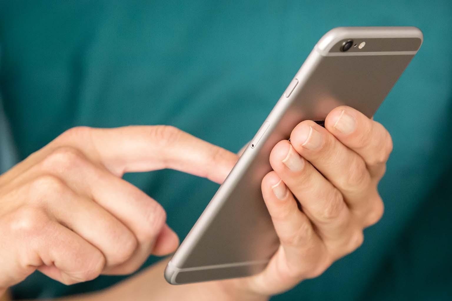 closeup of person using smartphone
