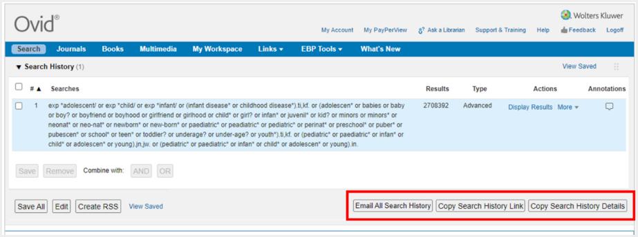 Screenshot of Ovid Search Sharing