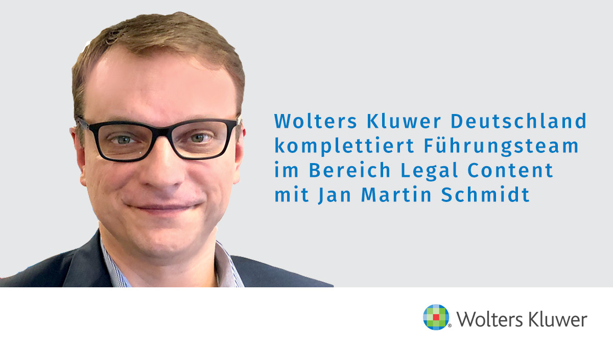 Jan Schmidt kommt zu Wolters Kluwer