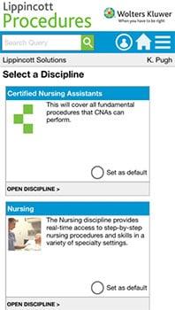 Lippincott Procedures App Installation Instructions screenshot: app main screen
