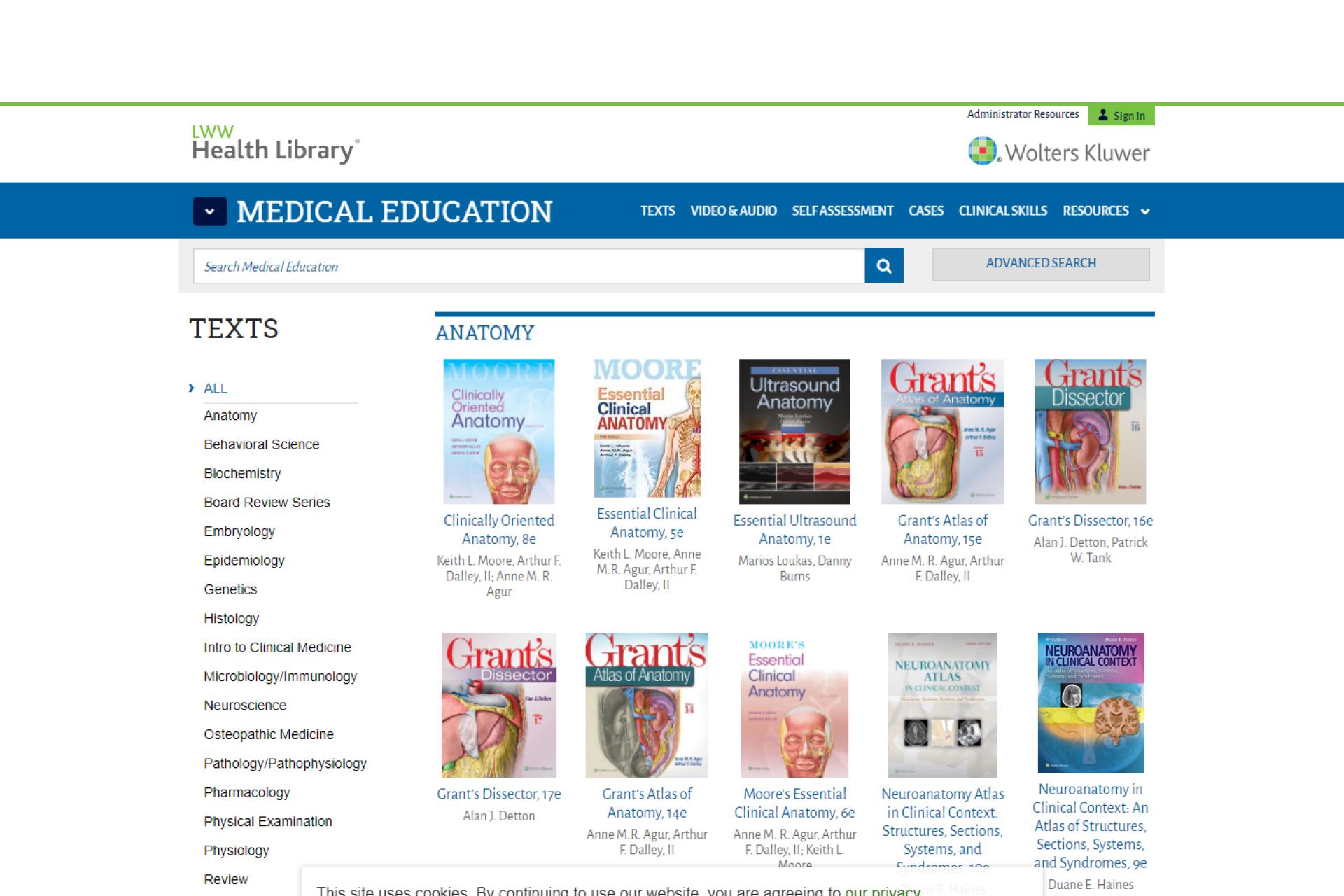 Screenshot of LWW Health Library website
