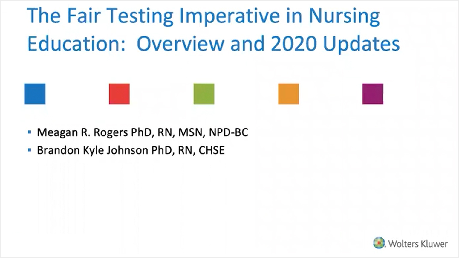 Screenshot of The fair testing imperative in nursing education: Overview and 2020 updates video