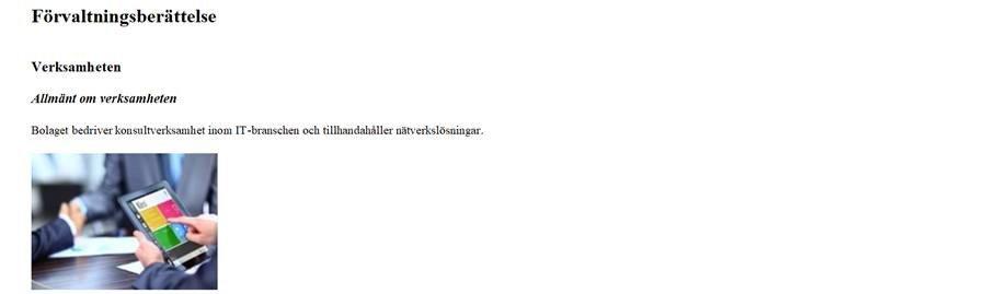 screenshot Forvaltningsberattelse