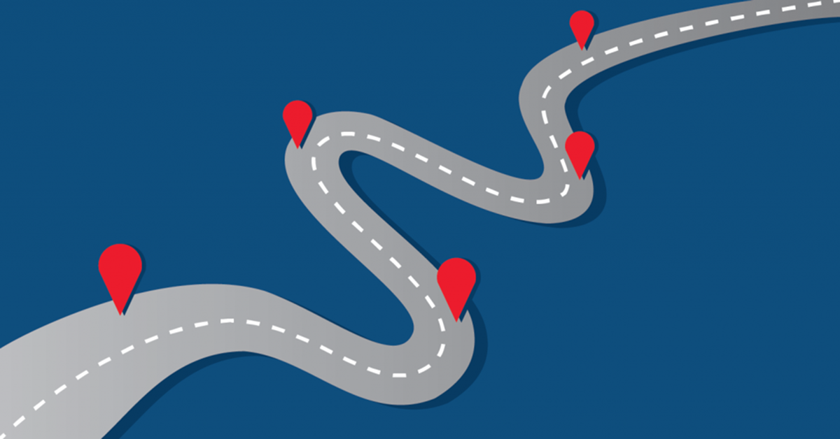 graphic of a twisty road with location pointers