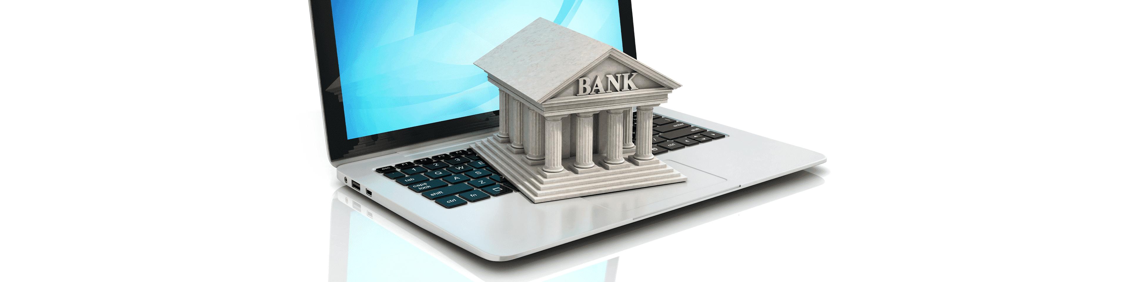 bankgebouw op laptop