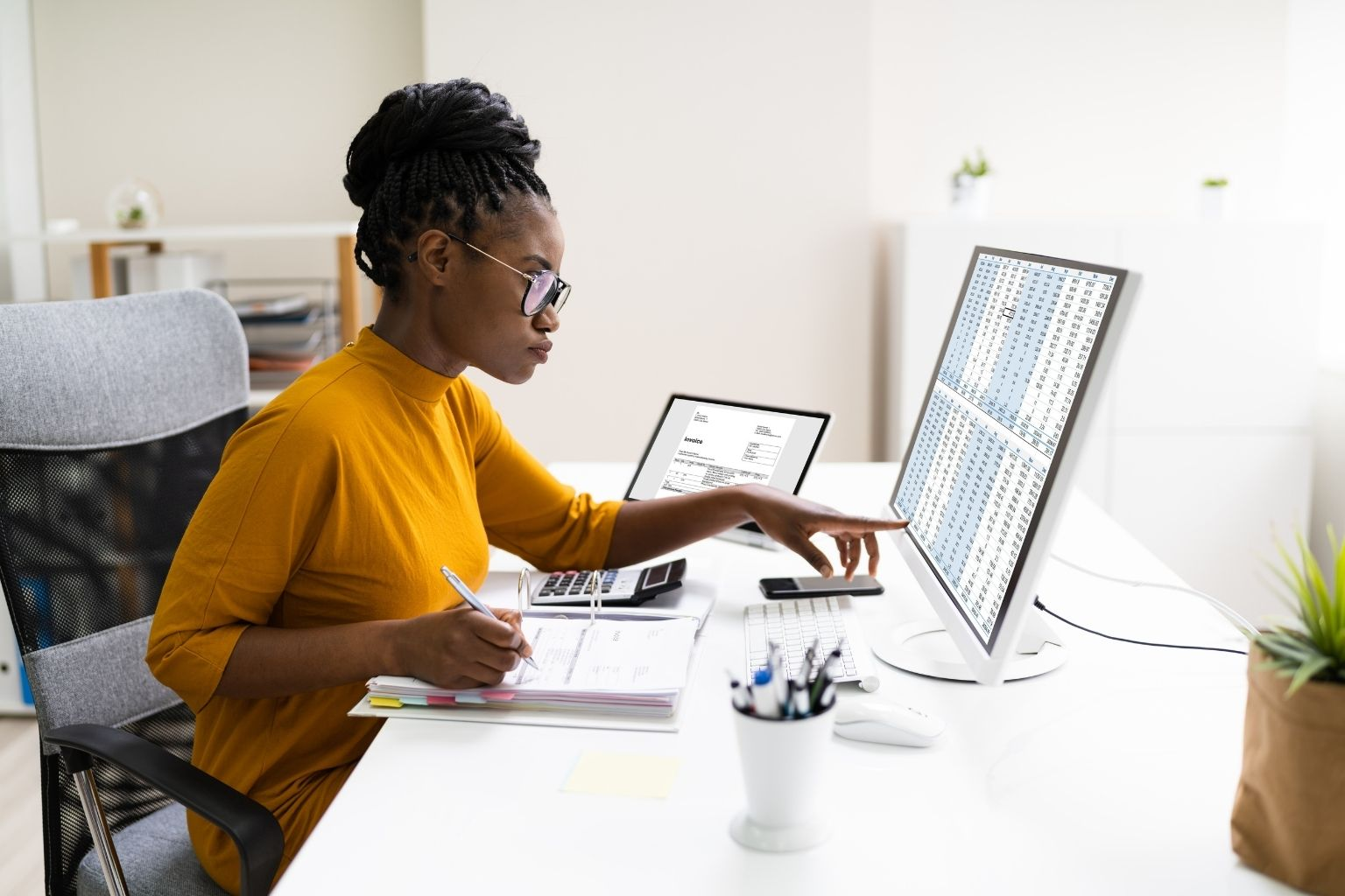 Healthcare professional at computer