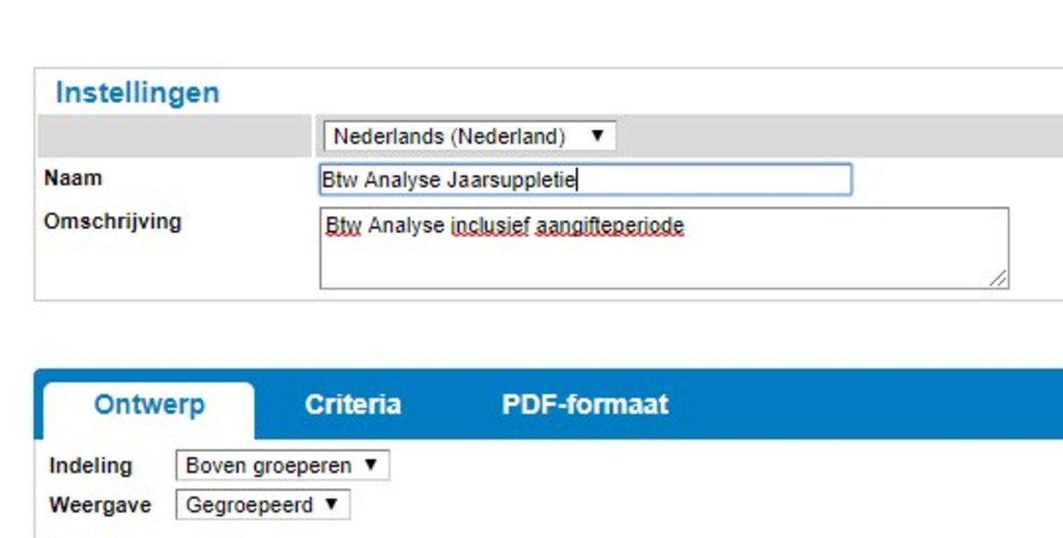 Screenshot van instellingen elektronische belastingaangifte suppletie vanuit Twinfield