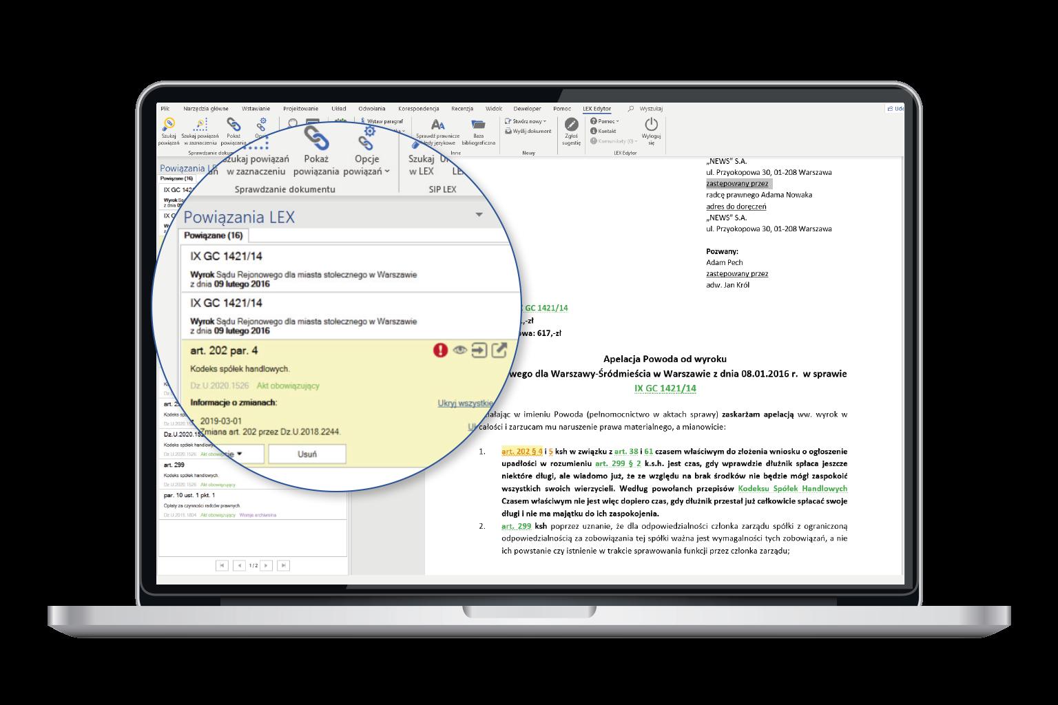 Widok programu przedstawiający monitoring aktualności dokumentów dzięki tworzeniu powiązań w LEX