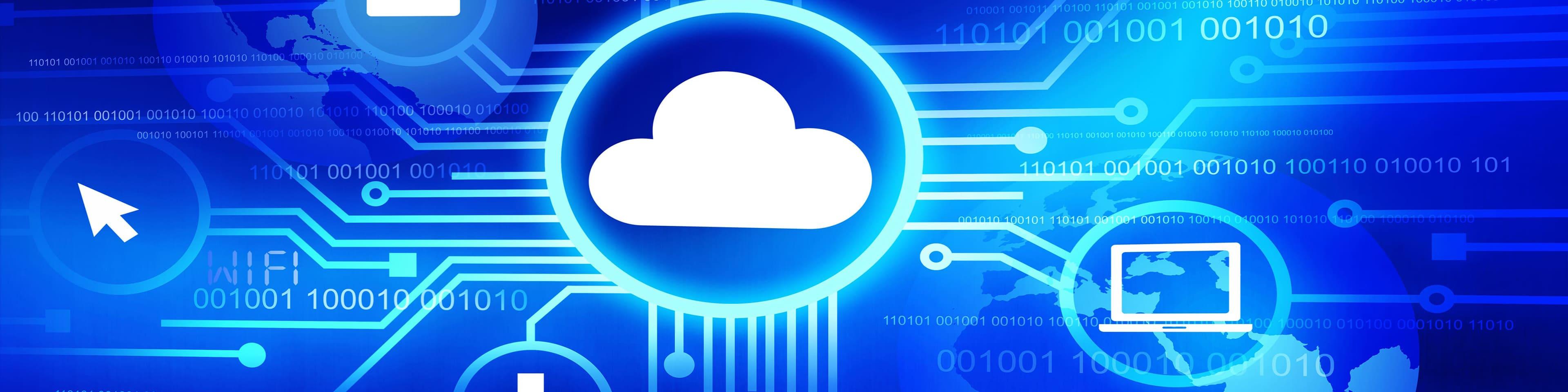 Technologisch cloud computing scherm dat werken in de cloud impliceert