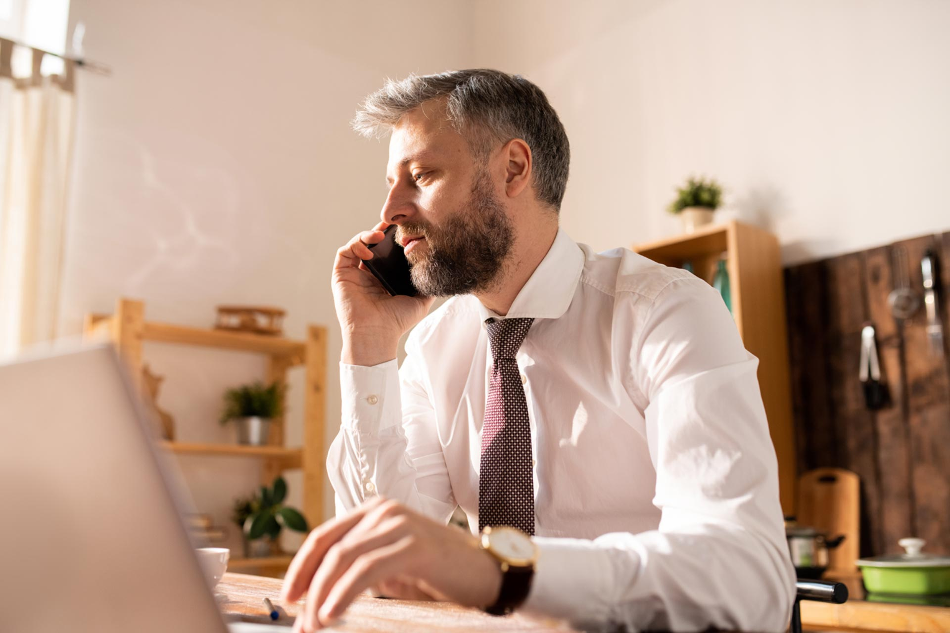 Man updating his business information and documents