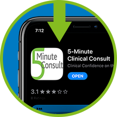Circle with arrow pointing at 5MinuteConsult on app store, showing on smartphone screen