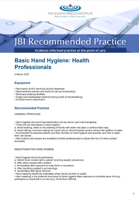 Screenshot of a JBI Recommended Practice